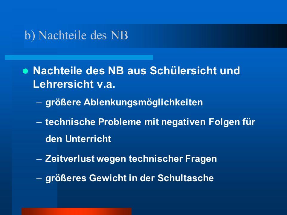 b) Nachteile des NB Nachteile des NB aus Schülersicht und Lehrersicht v.a. größere Ablenkungsmöglichkeiten.