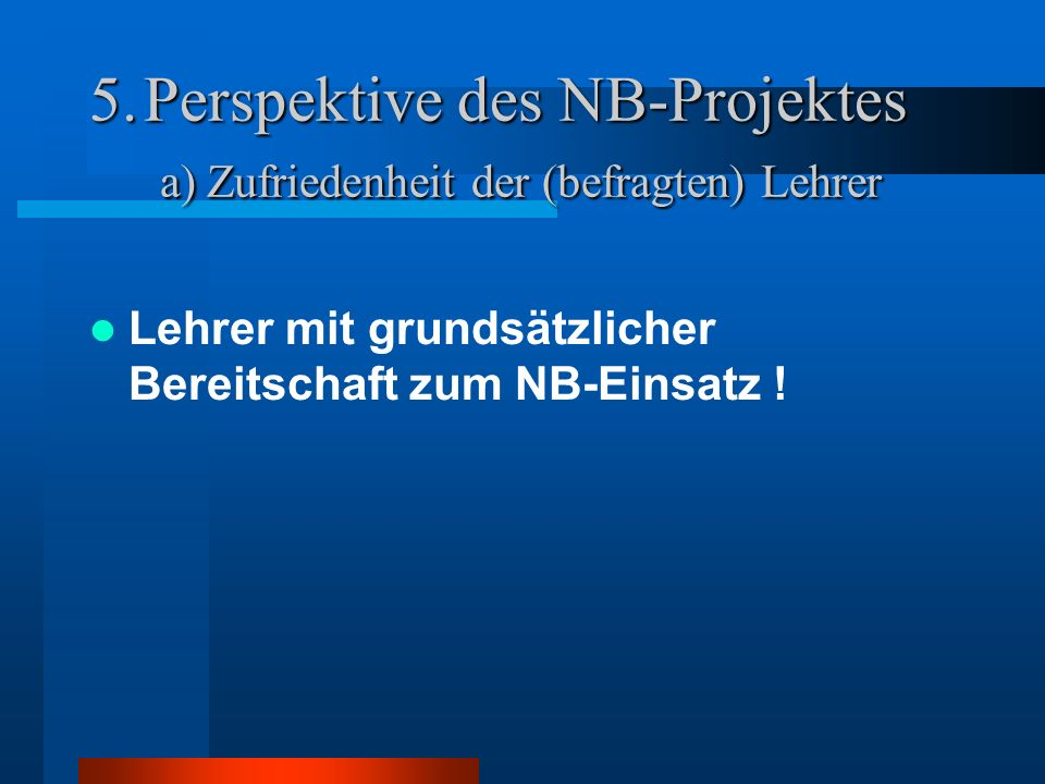 Perspektive des NB-Projektes a) Zufriedenheit der (befragten) Lehrer