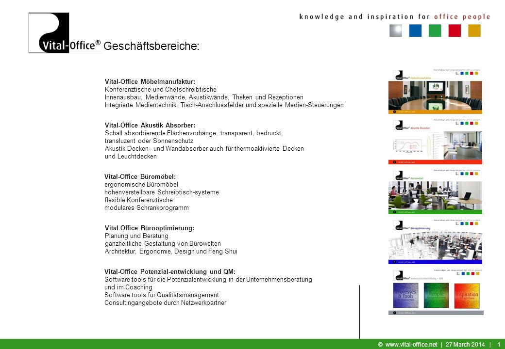 Geschäftsbereiche: Vital-Office Möbelmanufaktur: