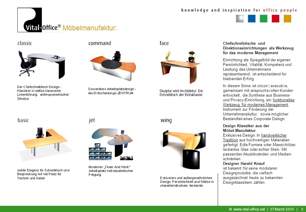Möbelmanufaktur: Chefschreibtische und Direktionseinrichtungen als Werkzeug für das moderne Management.