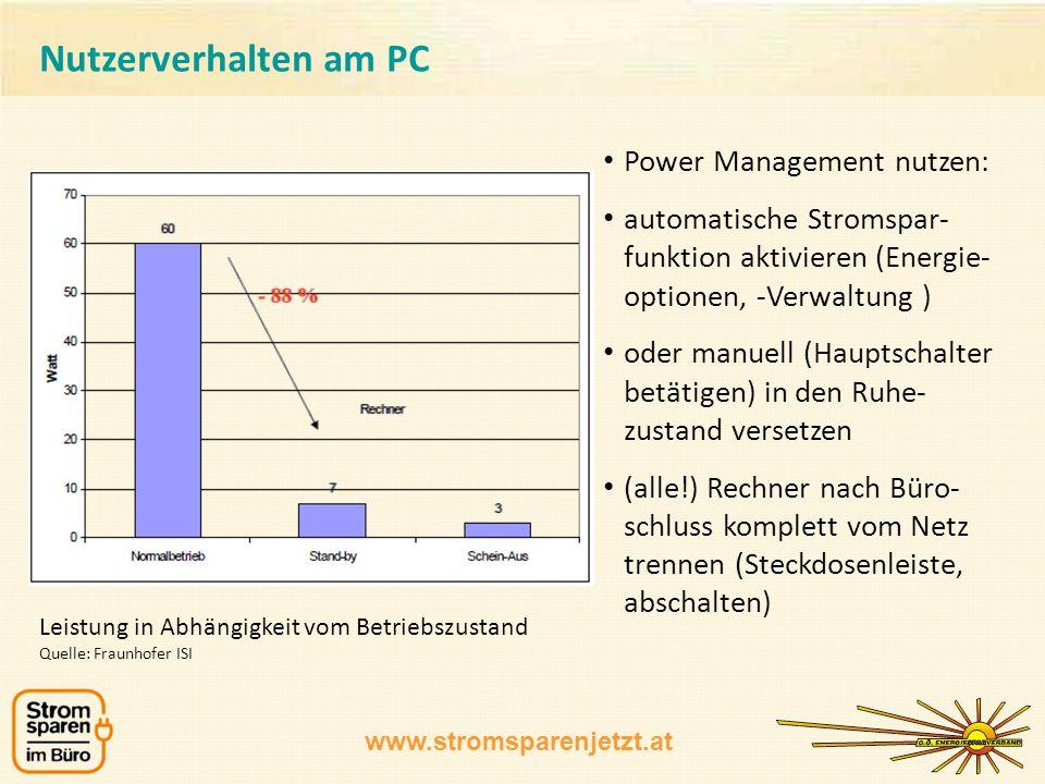 Nutzerverhalten am PC Power Management nutzen: