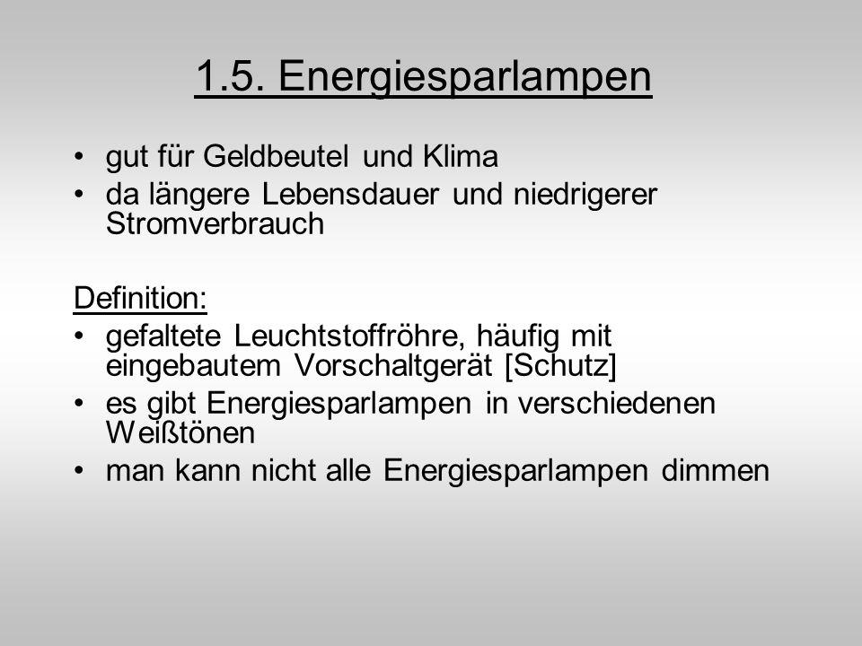 1.5. Energiesparlampen gut für Geldbeutel und Klima