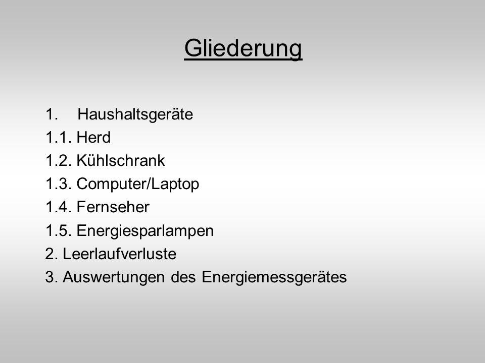 Gliederung Haushaltsgeräte 1.1. Herd 1.2. Kühlschrank