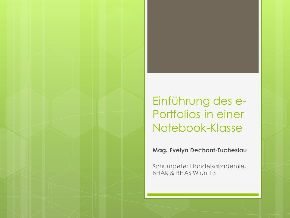 Einführung des e-Portfolios in einer Notebook-Klasse