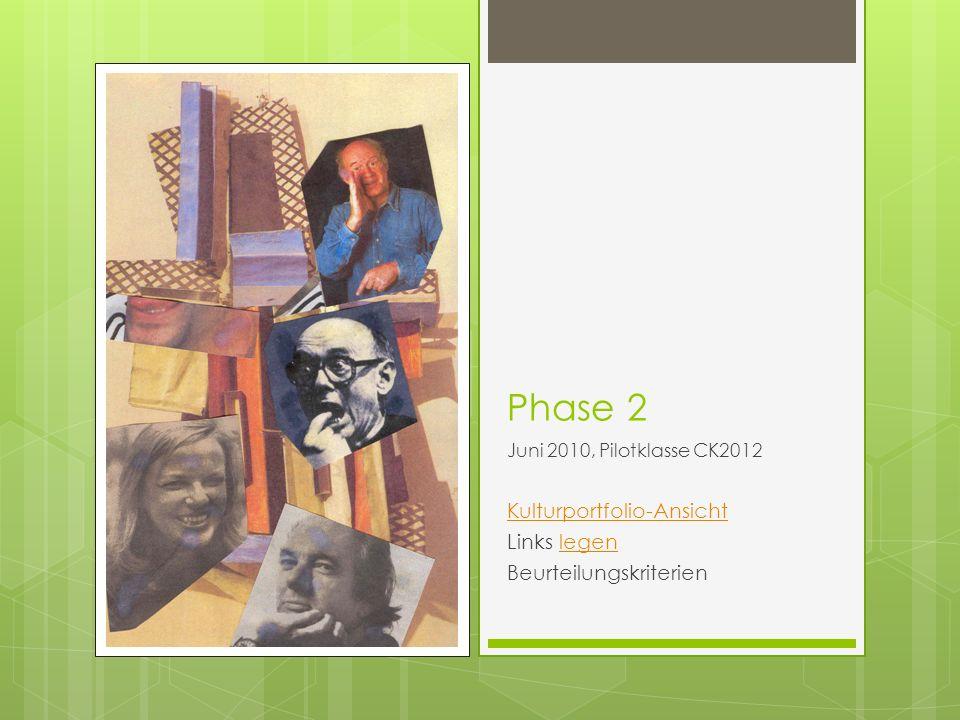 Phase 2 Kulturportfolio-Ansicht Links legen Beurteilungskriterien