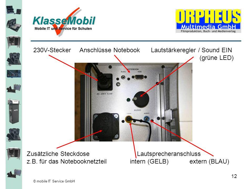 230V-Stecker Anschlüsse Notebook Lautstärkeregler / Sound EIN
