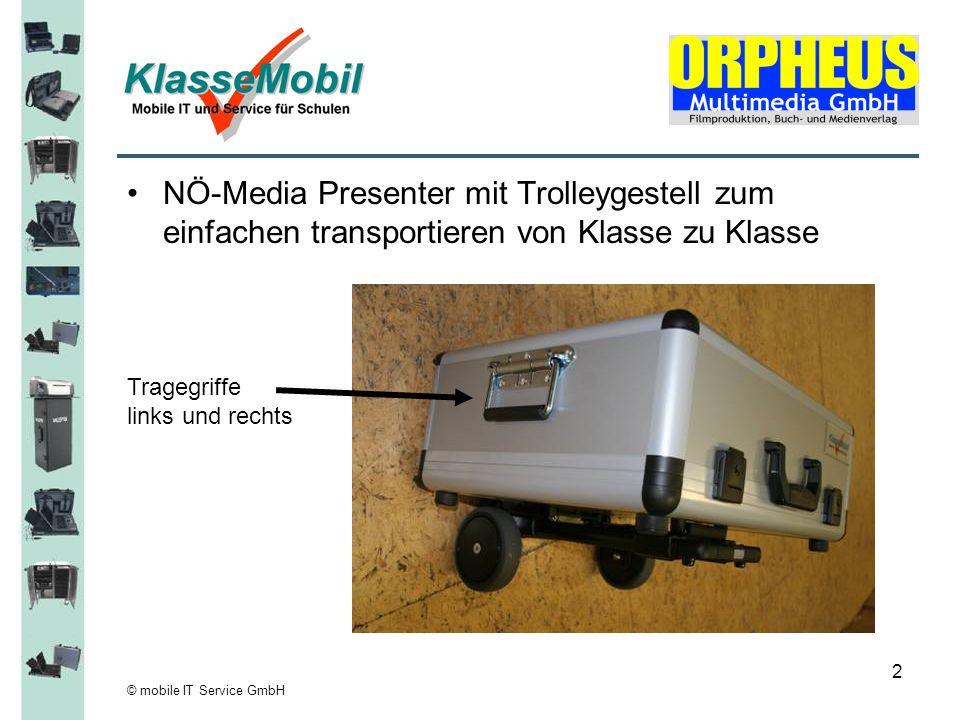 NÖ-Media Presenter mit Trolleygestell zum einfachen transportieren von Klasse zu Klasse