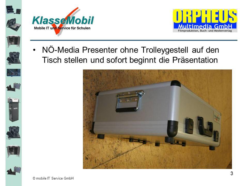 NÖ-Media Presenter ohne Trolleygestell auf den Tisch stellen und sofort beginnt die Präsentation