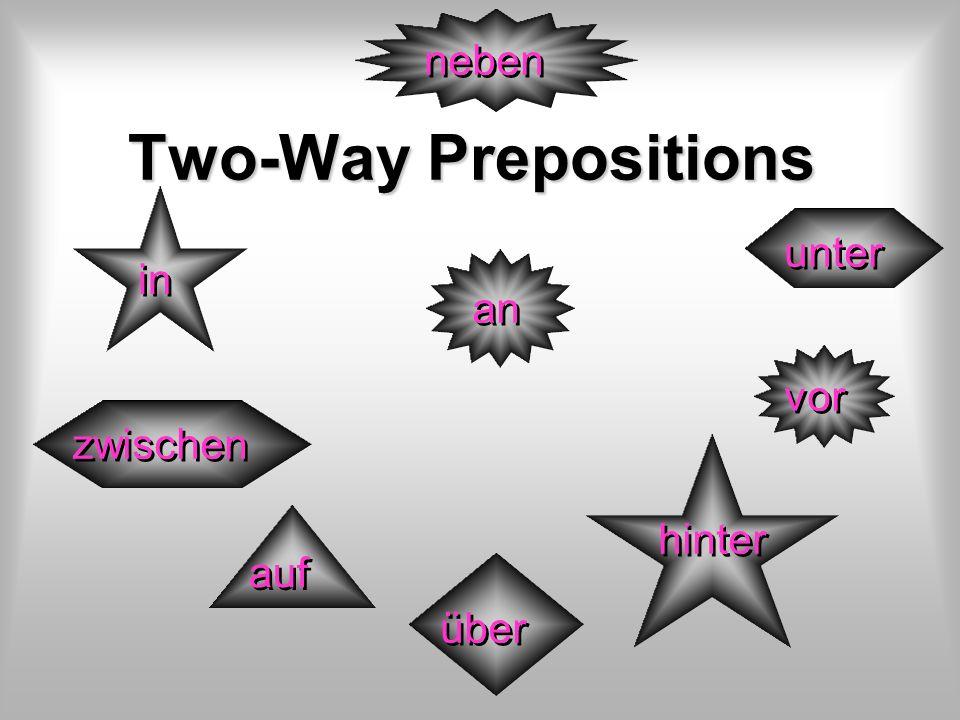 neben Two-Way Prepositions unter in an vor zwischen hinter auf über