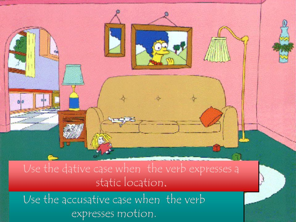 Use the dative case when the verb expresses a static location.