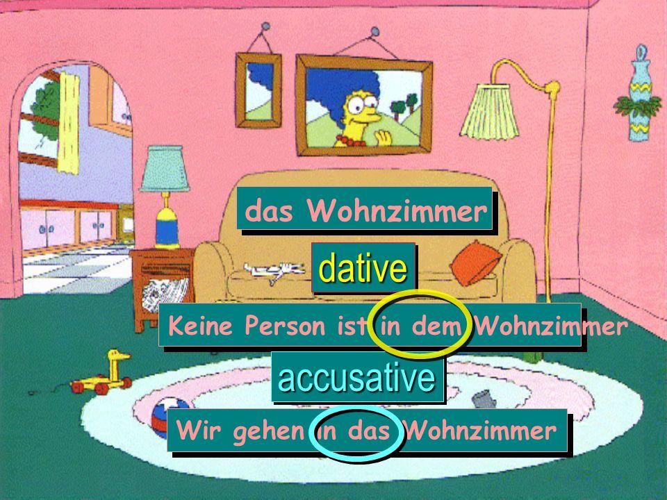 dative accusative das Wohnzimmer Keine Person ist in dem Wohnzimmer