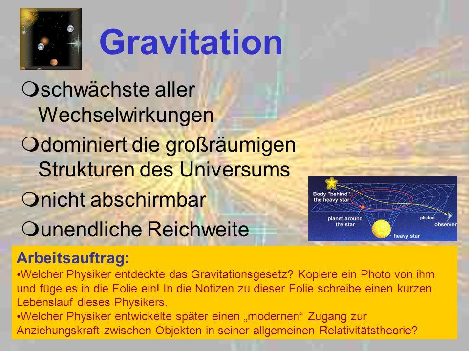 Gravitation schwächste aller Wechselwirkungen