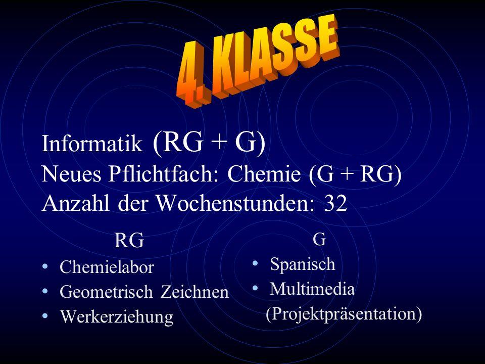 4. KLASSE Informatik (RG + G) Neues Pflichtfach: Chemie (G + RG) Anzahl der Wochenstunden: 32. RG.