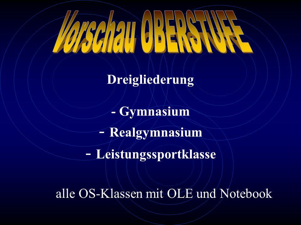 Vorschau OBERSTUFE Dreigliederung - Gymnasium - Realgymnasium - Leistungssportklasse alle OS-Klassen mit OLE und Notebook.