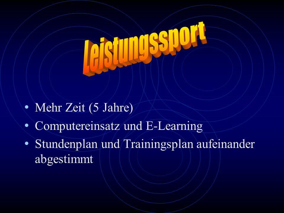 Leistungssport Mehr Zeit (5 Jahre) Computereinsatz und E-Learning