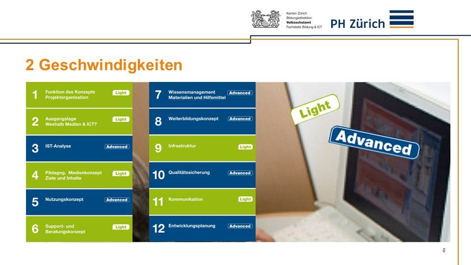 2 Geschwindigkeiten Schulen können wählen zwischen einer Version «Light» (grün, weniger zu erarbeitende Kapitel) und «Advanced» (blau, alle Kapitel)