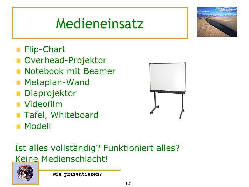 Medieneinsatz Flip-Chart Overhead-Projektor Notebook mit Beamer