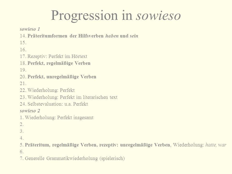 Progression in sowieso
