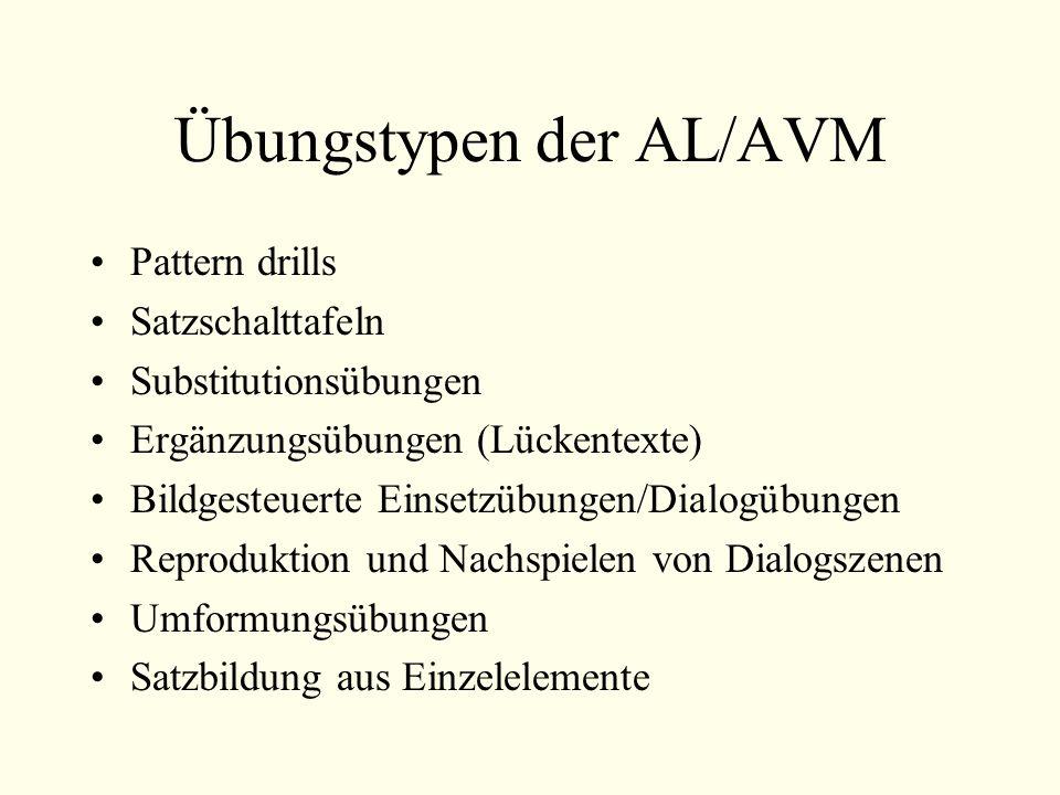 Übungstypen der AL/AVM