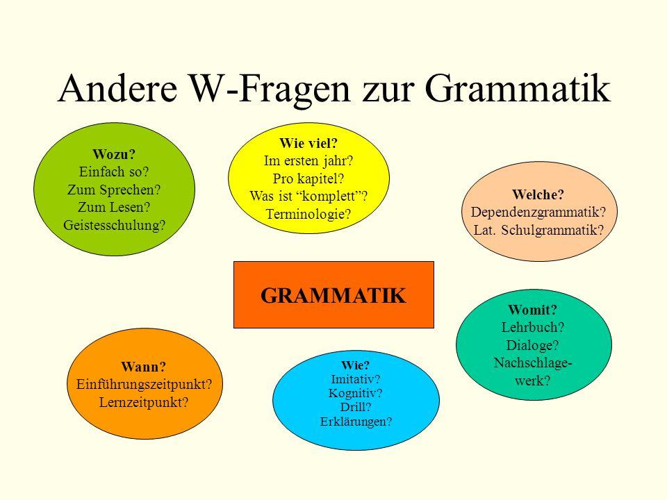 Andere W-Fragen zur Grammatik