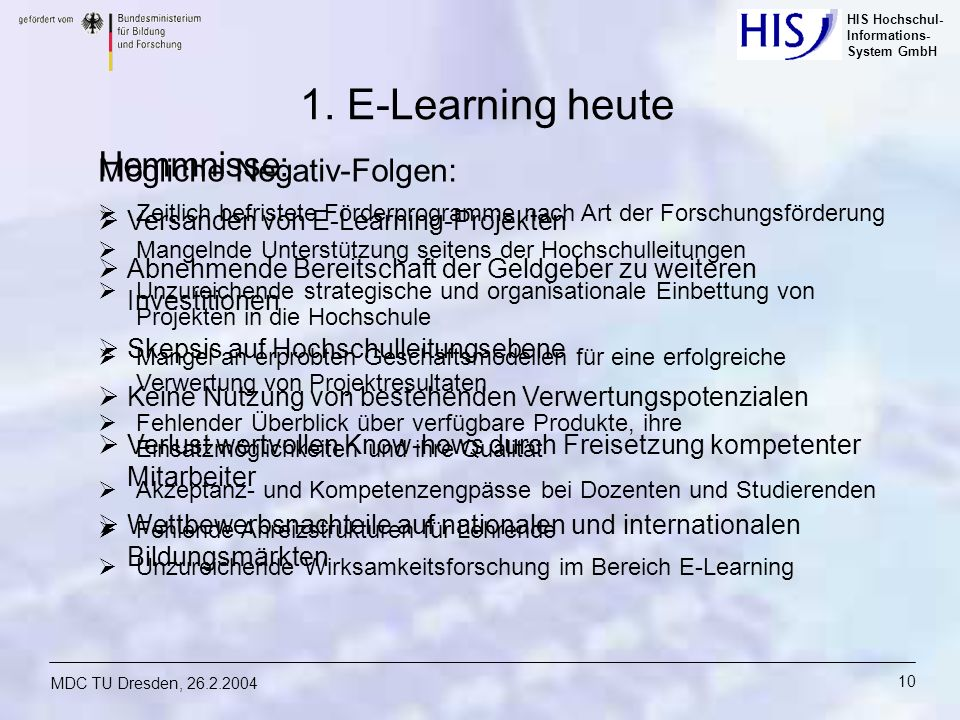 1. E-Learning heute Hemmnisse: Mögliche Negativ-Folgen: