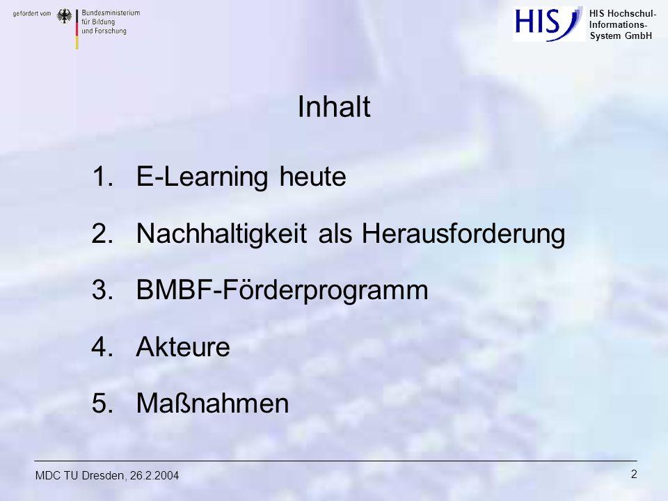 Inhalt E-Learning heute Nachhaltigkeit als Herausforderung