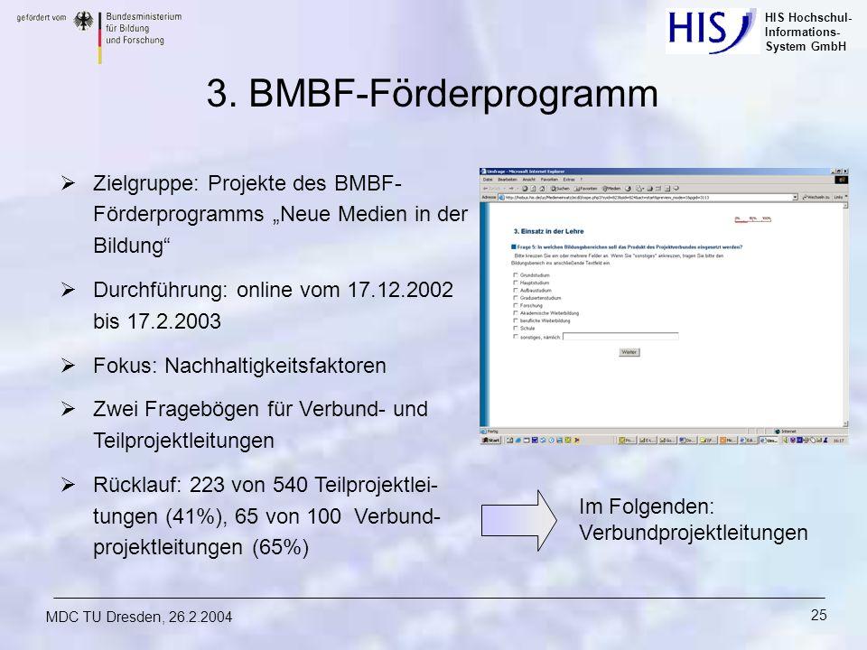 """3. BMBF-Förderprogramm Zielgruppe: Projekte des BMBF-Förderprogramms """"Neue Medien in der Bildung Durchführung: online vom 17.12.2002 bis 17.2.2003."""
