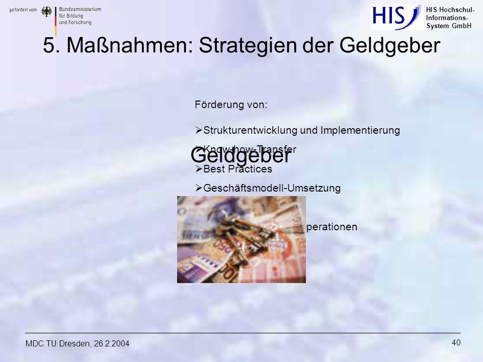 5. Maßnahmen: Strategien der Geldgeber