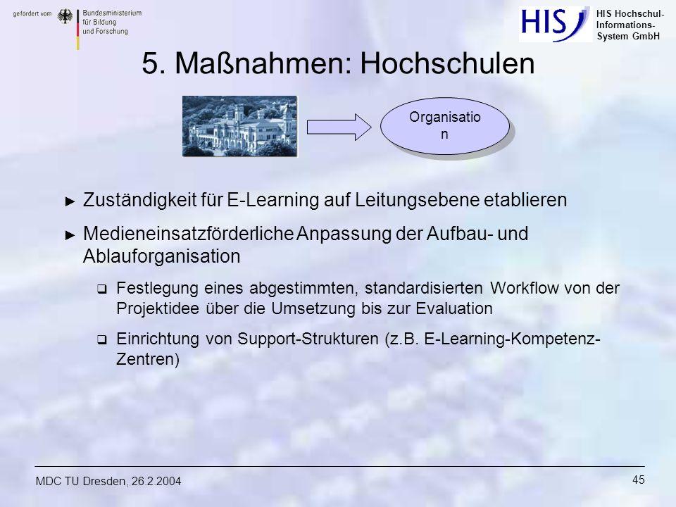 5. Maßnahmen: Hochschulen