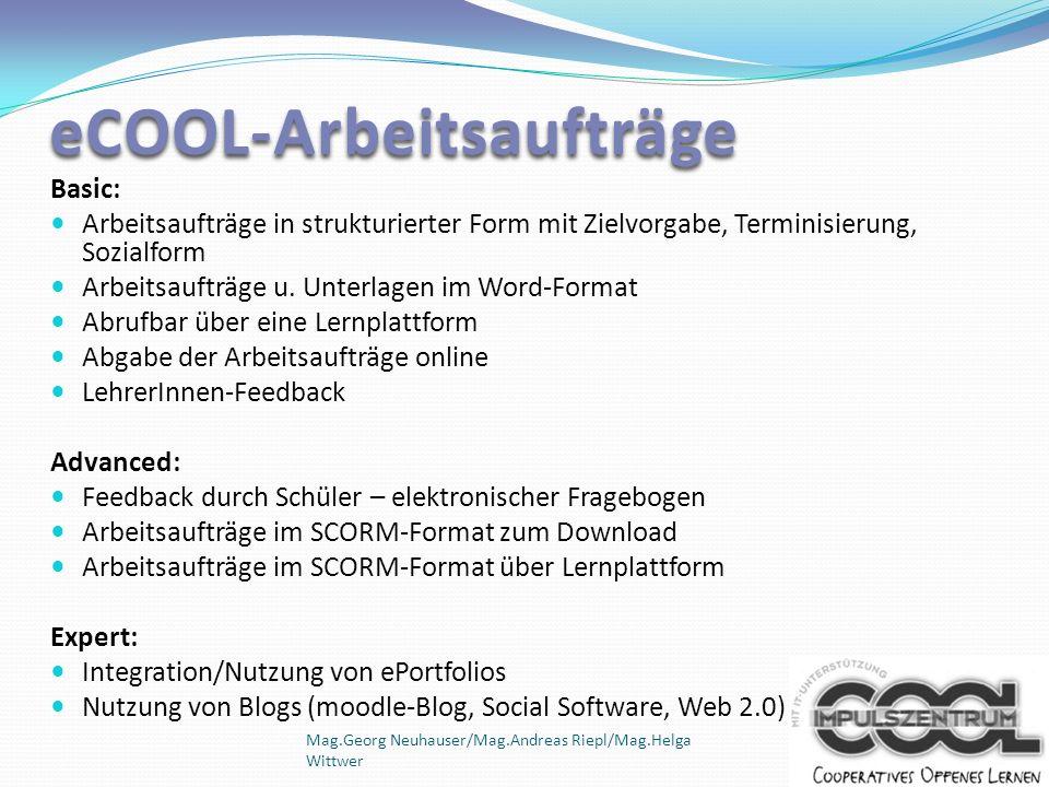 eCOOL-Arbeitsaufträge