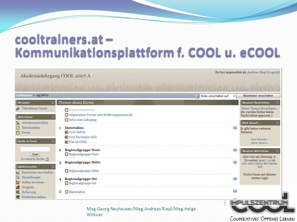 cooltrainers.at – Kommunikationsplattform f. COOL u. eCOOL