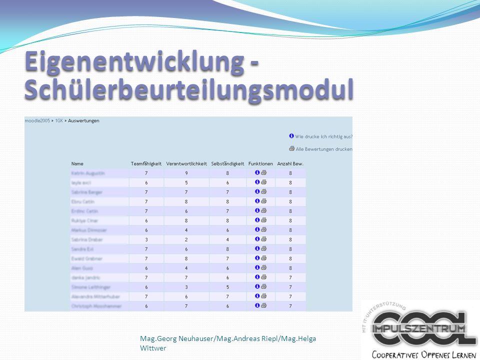 Eigenentwicklung - Schülerbeurteilungsmodul