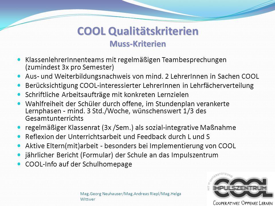 COOL Qualitätskriterien Muss-Kriterien