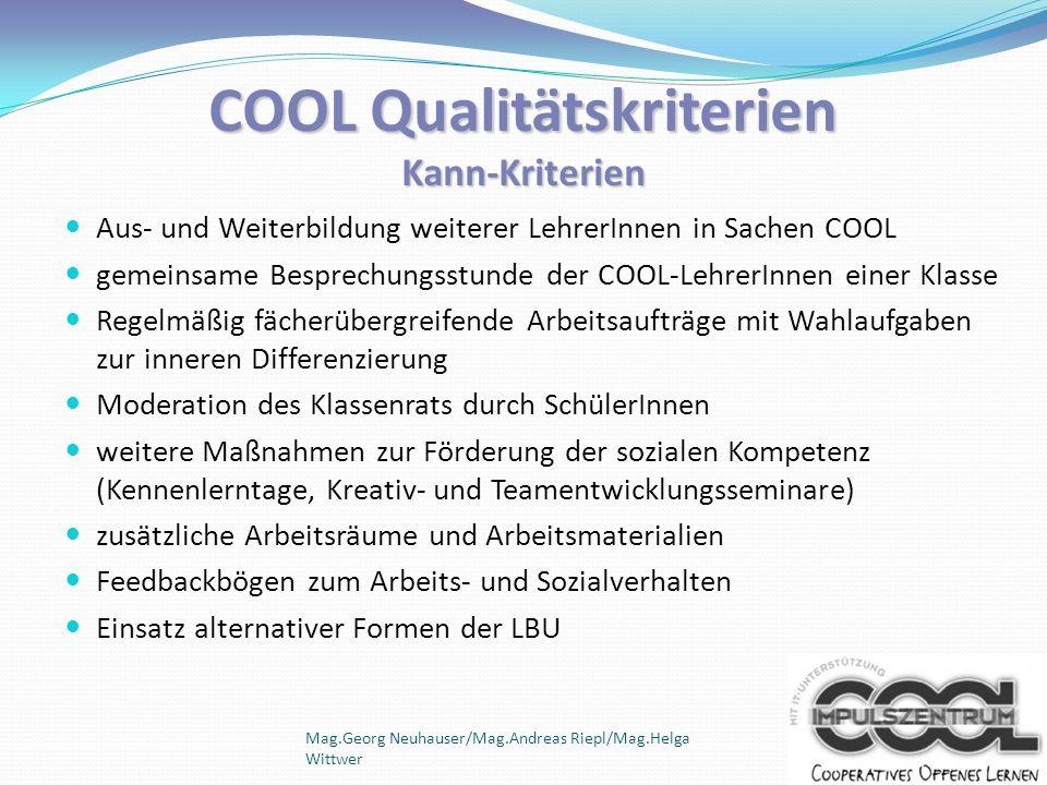 COOL Qualitätskriterien Kann-Kriterien