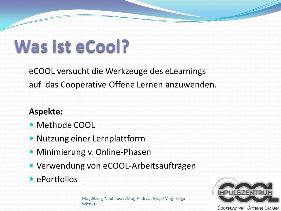 Was ist eCool eCOOL versucht die Werkzeuge des eLearnings