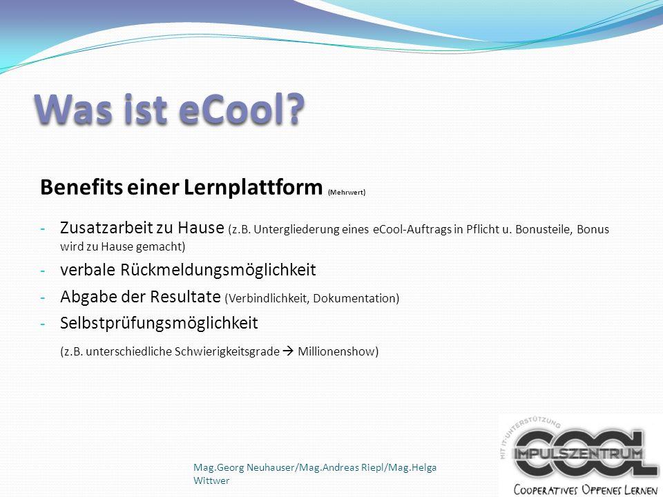 Was ist eCool Benefits einer Lernplattform (Mehrwert)