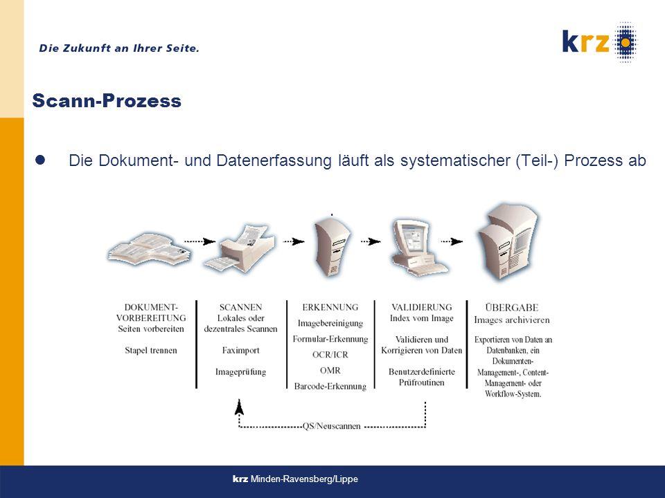 Scann-Prozess Die Dokument- und Datenerfassung läuft als systematischer (Teil-) Prozess ab.