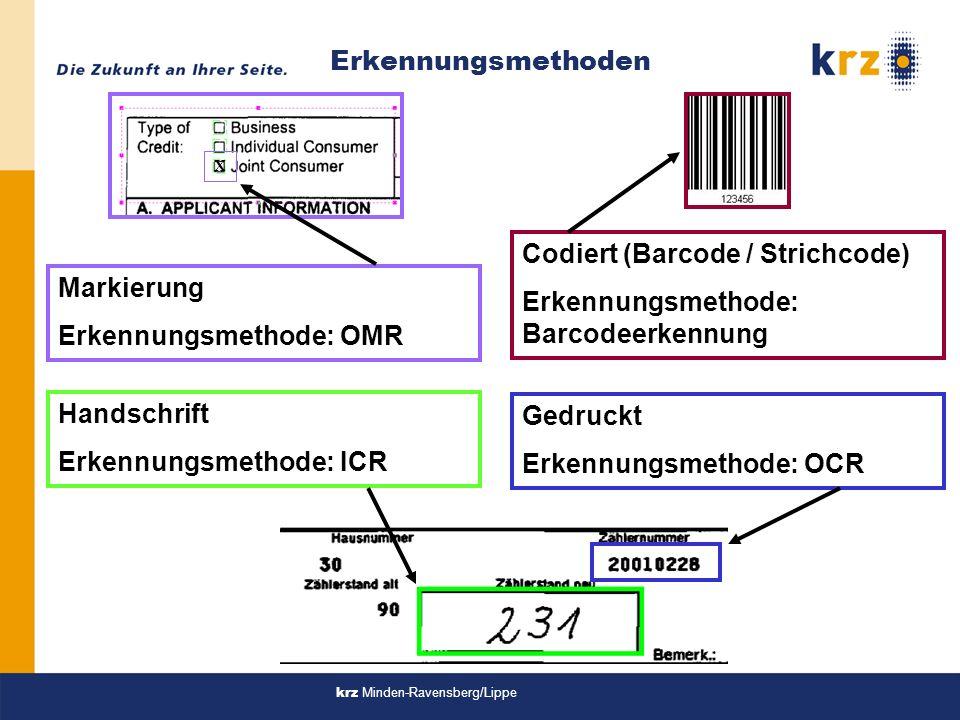 Erkennungsmethode: OMR Codiert (Barcode / Strichcode)