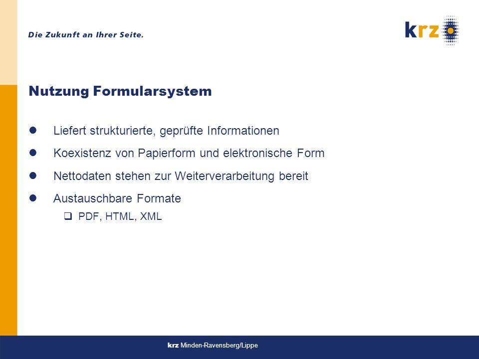 Nutzung Formularsystem
