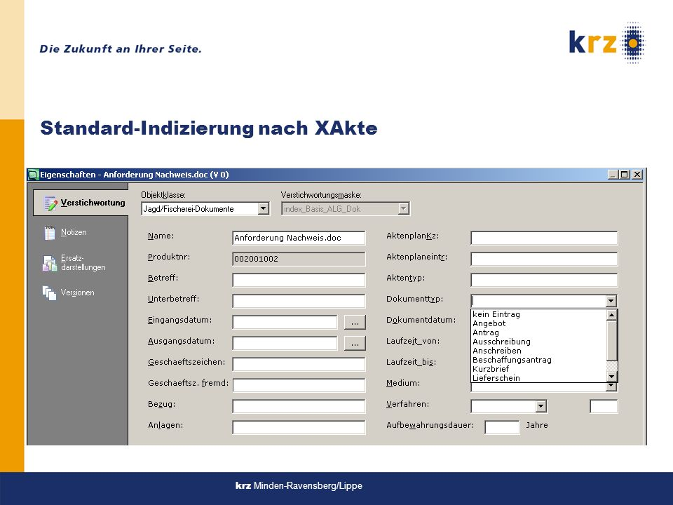 Standard-Indizierung nach XAkte