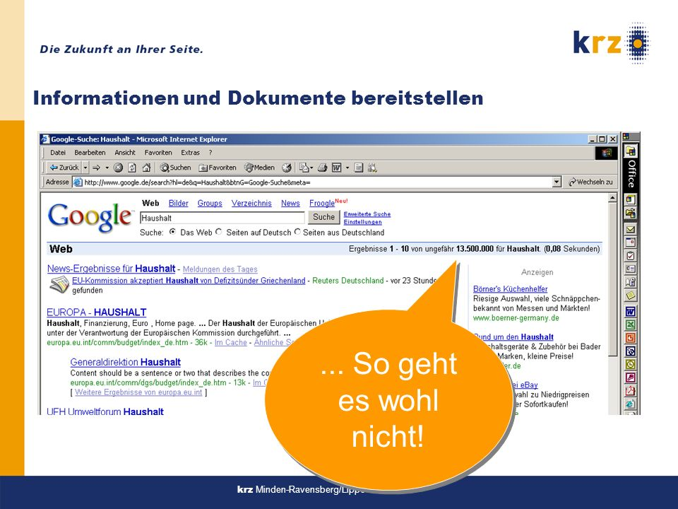 Informationen und Dokumente bereitstellen