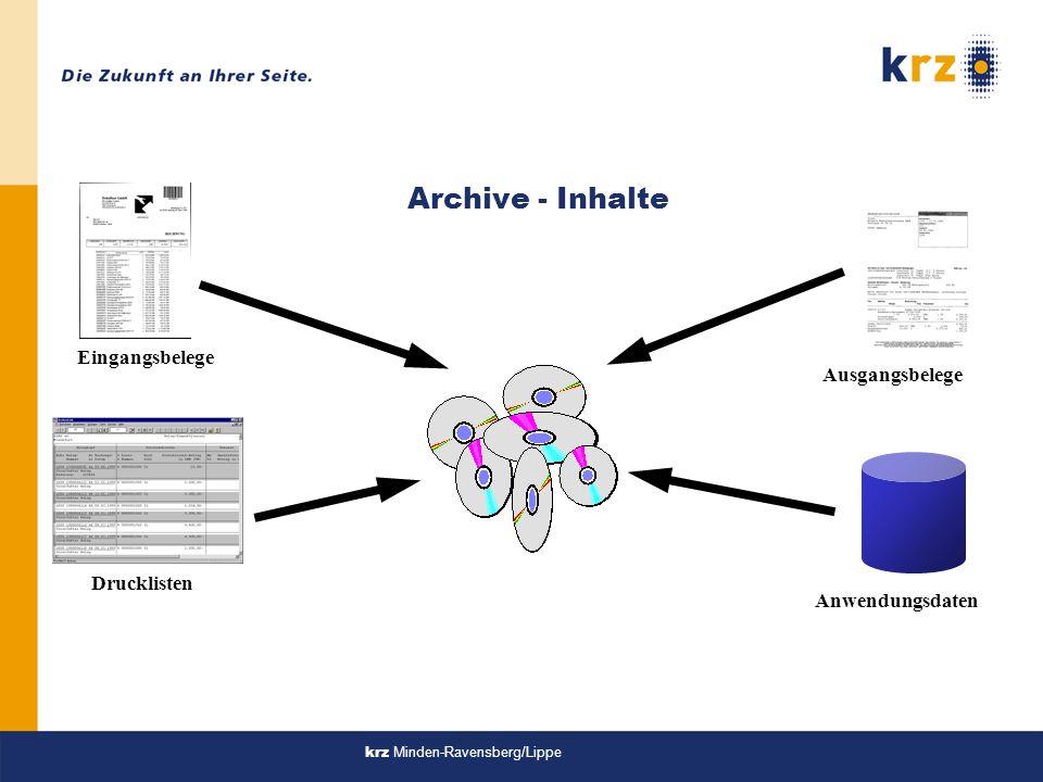 Archive - Inhalte Eingangsbelege Ausgangsbelege Drucklisten