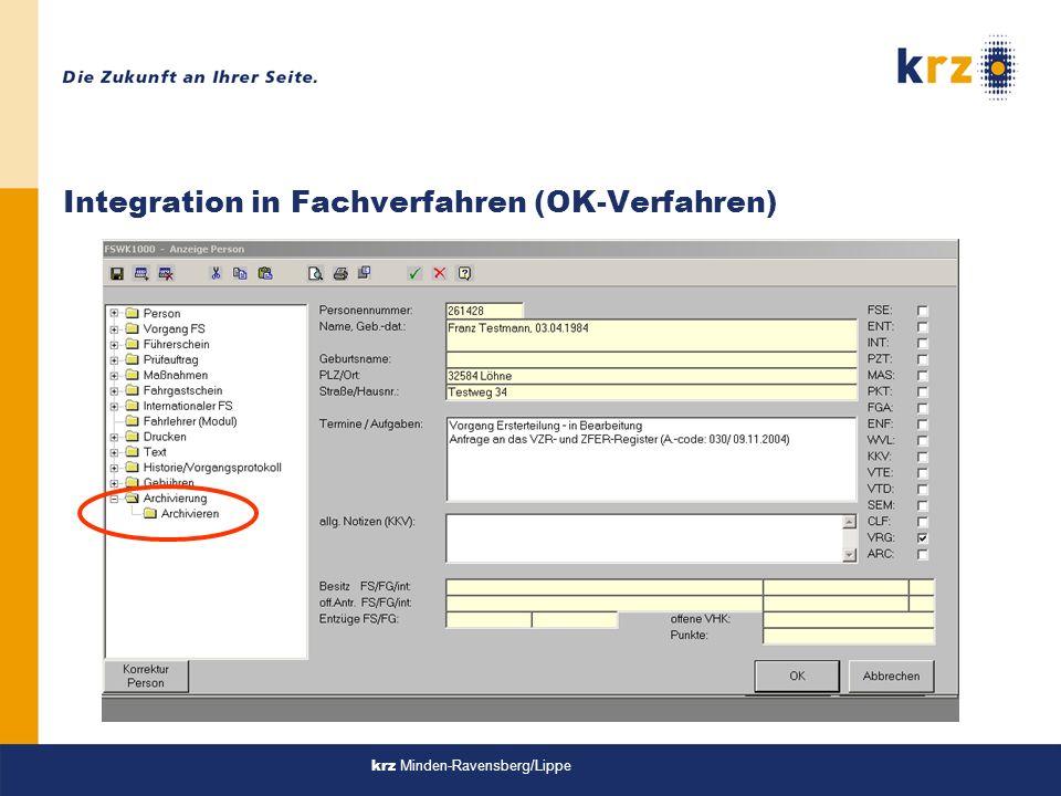 Integration in Fachverfahren (OK-Verfahren)