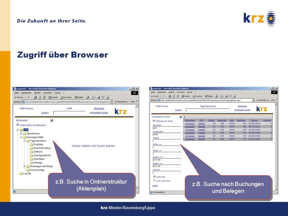 Zugriff über Browser z.B. Suche in Ordnerstruktur (Aktenplan)