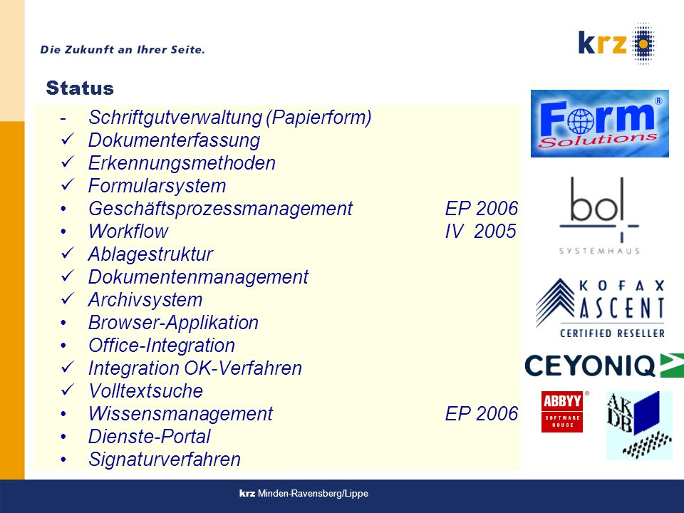 Schriftgutverwaltung (Papierform) Dokumenterfassung Erkennungsmethoden