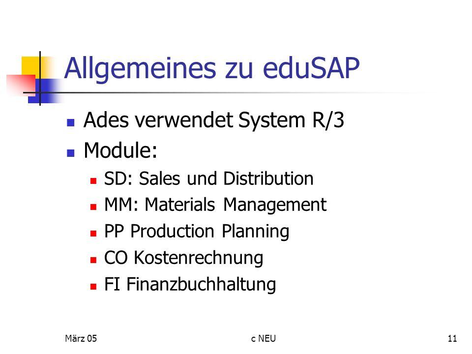 Allgemeines zu eduSAP Ades verwendet System R/3 Module: