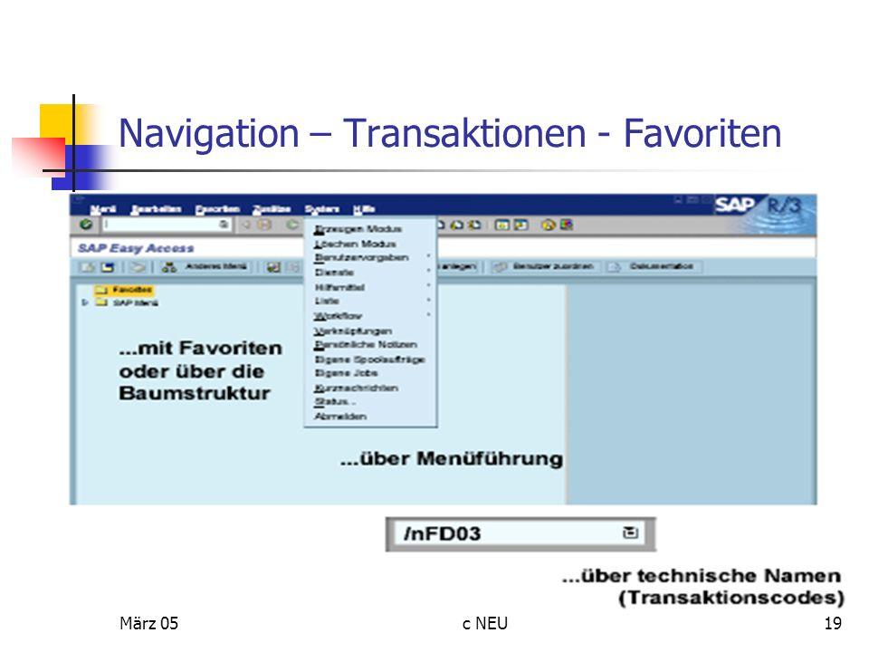 Navigation – Transaktionen - Favoriten