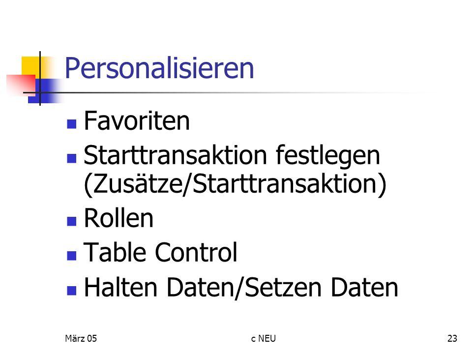 Personalisieren Favoriten