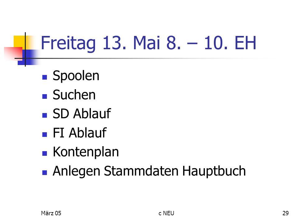 Freitag 13. Mai 8. – 10. EH Spoolen Suchen SD Ablauf FI Ablauf