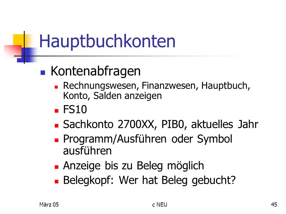 Hauptbuchkonten Kontenabfragen FS10